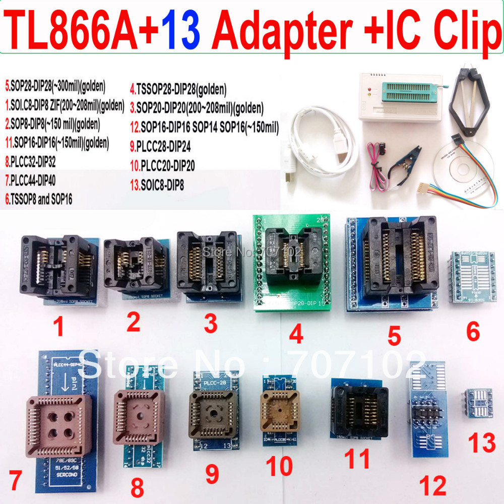 TL866a programmer 13 adapters font b IC b font CLIP High speed TL866 PLCC AVR PIC