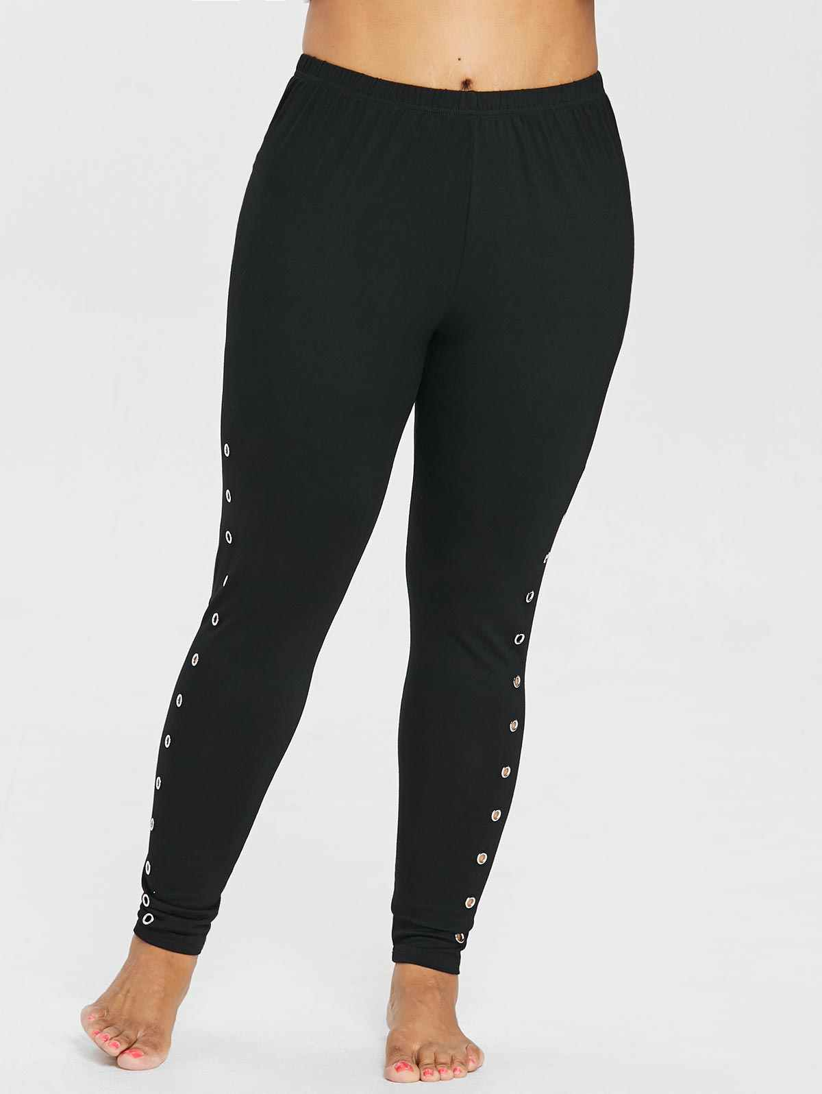 5478801a56 Kenancy Women Casual Plus Size Embellished Grommets Side High Waisted  Skinny Leggings Black Trousers Laies Pants Big Size 5XL