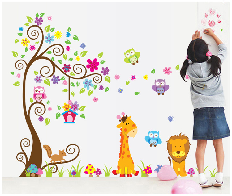 Cute Cartoon Animals Tree Bridge Baby Children Bedroom Room Decor Wall Stickers Removable Kids Nursery Wall Decal Df5210ab