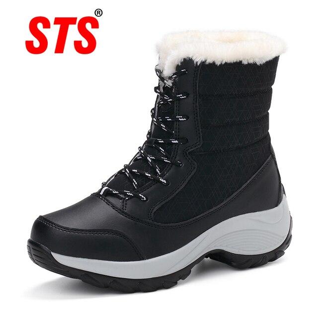 STS ماركة أحذية النساء أحذية الشتاء مقاوم للماء الإناث الثلوج الأحذية منصة بوتاس موهير الكاحل بوط شتوي مع سميكة الفراء فتاة التمهيد