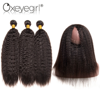 Oexye Girl 360 Lace Frontal With Bundle 4Pcs Lot Brazilian Kinky Straight Hair Bundles Human Hair