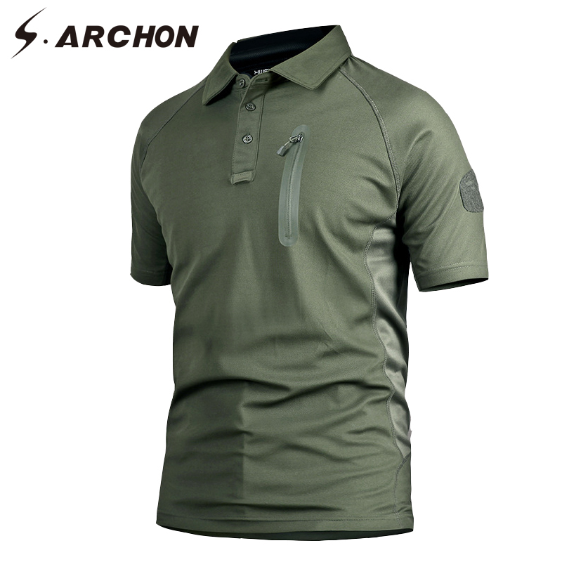 S.ARCHON Military Army Polo Shirt Short Sleeve Men Quick Dry Camouflage Tactical Polo Shirt Casual Slim Fit Breathable Camo Polo