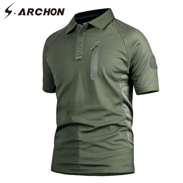 6166cb81 S.ARCHON Military Army Polo Shirt Short Sleeve Men Quick Dry Camouflage  Tactical Polo Shirt Casual Slim Breathable Camo Polo