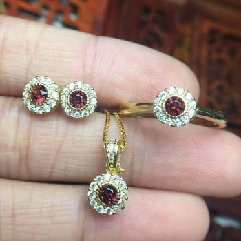 Natural red garnet jewelry sets natural gemstone ring Pendant Earrings S925 silver Elegant Simple elegant round fine jewelry