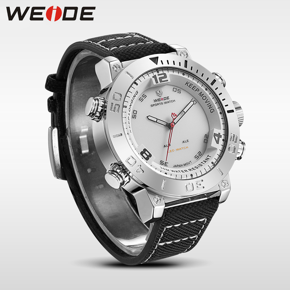WEIDE watch luxury quartz watch sport digital nylong watch fashion casual water resistant white alarm clock reloj hombre 6103 novelty run around wake up n catch me digital alarm clock on wheels white 4 aaa