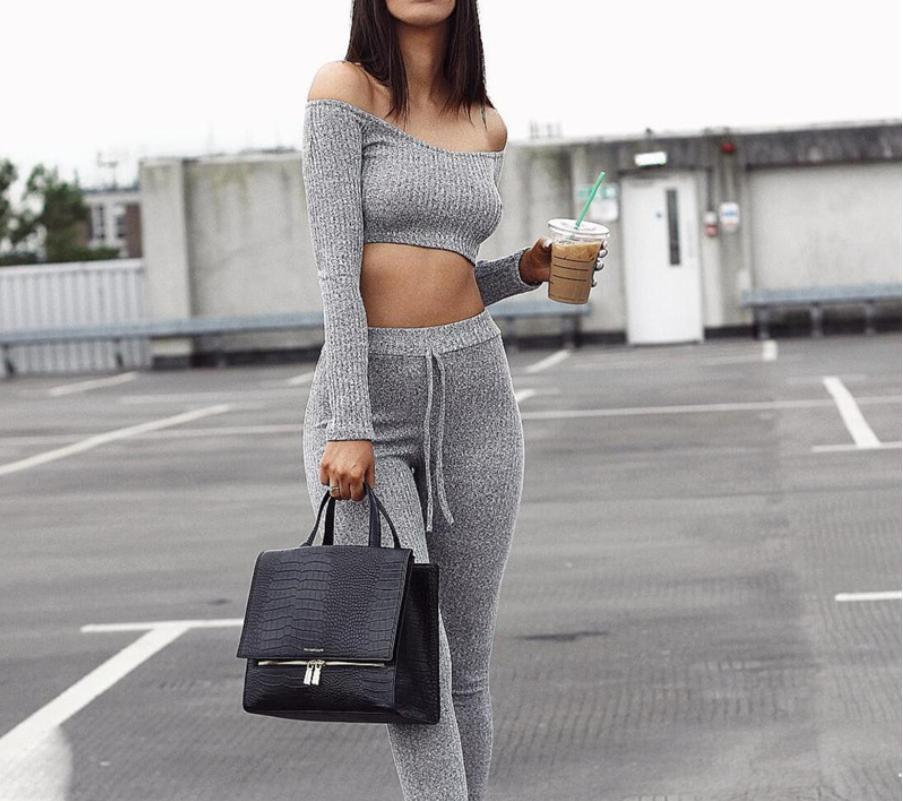 Two Piece Set Women Tracksuit | Off Shoulder T Shirt & Leggings Slim Suit  2