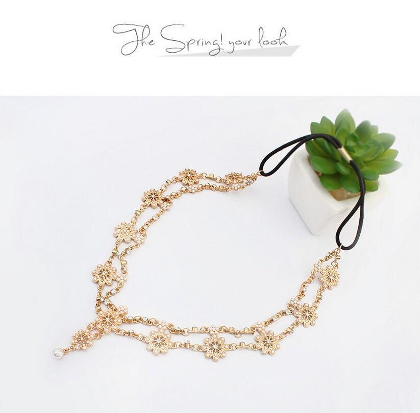 2018 Pearl Tassel Flower Stretch Headband Hair Band Wedding Accessories Crystal Bridal Hair Accessories Head Chain Hair Jewelry 7