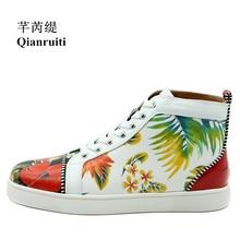 Men Vulcanize Shoe Flower Printing Sneakers Trending High Top Shoes Espadrilles Platform Lace-up Men Casual Shoes