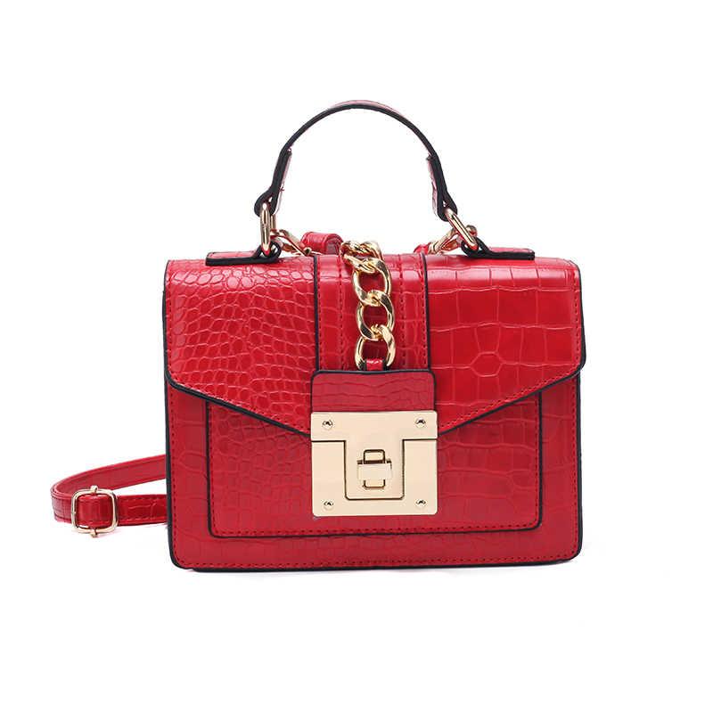 7c7328ae4687 Women fashion shoulder bag crocodile pattern leather handbag ladies chain  flap Crossbody bag red small tote