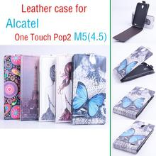 New Luxury Business Style Genuine Leather Flip Case for Alcatel one Touch Pop2 M5 Smart Phone Case Free ship.
