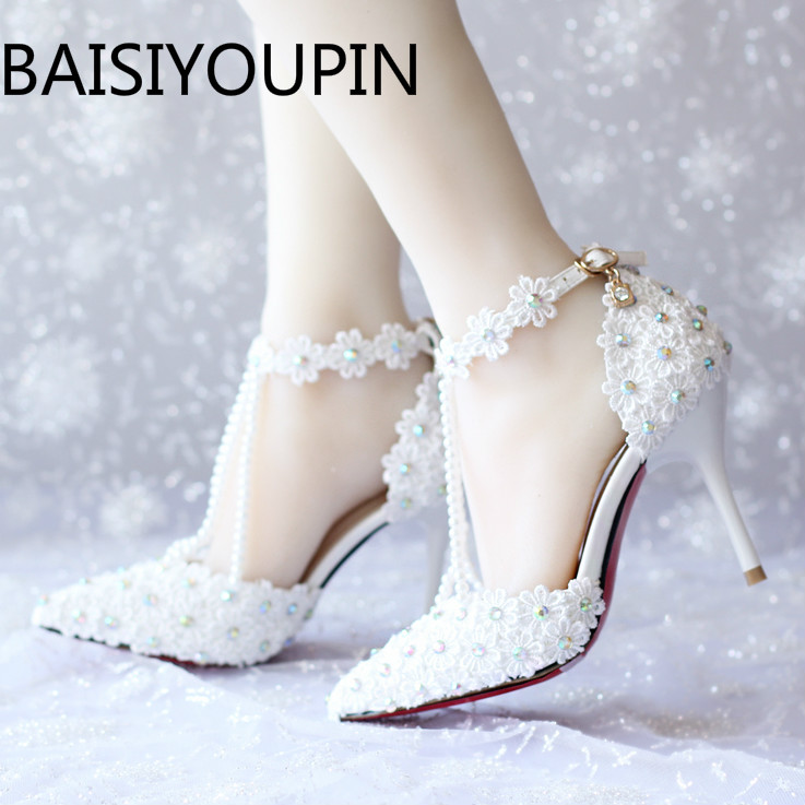 New Summer Women White Rhinestone Lace Bead Bridal Shoes Female High Heel Shoes Women Dress Shoes Red Bottom Party Wedding Shoes new flower female bridesmaid shoes wedding shoes bridal shoes red high heeled shoes formal dress new arrive platform pumps