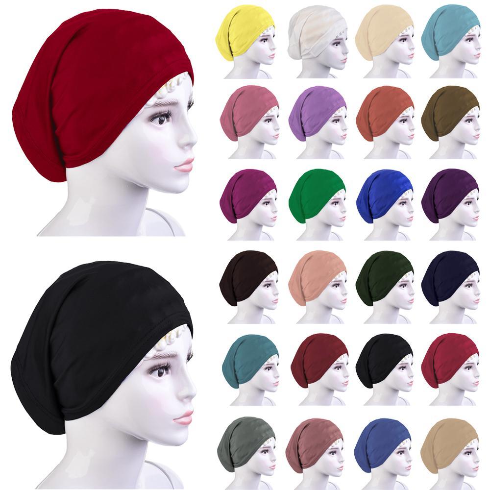 Women Muslim Chemo Hair Loss Beanie Hat Scarf Turban Head Wrap Cap Cover Under Islamic Arab Tube Bonnet Amira Headwear Fashion