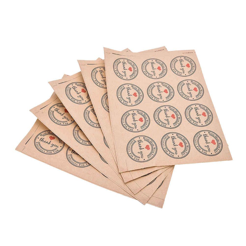 60 Cái/lốc Tình Yêu Màu Đỏ Cảm Ơn Bạn Tự Dán Miếng Dán Quà Tặng Tùy Chỉnh Vòng Nhãn Túi Giấy Kraft Nhãn Cảm Ơn Bạn miếng Dán
