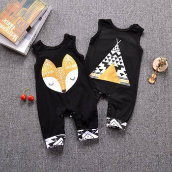 Cotton Infant Baby Boys Girls Clothes Cartoon Fox Romper 2019 New Kids Unsex Sunsuit One piece Sleeveless Jumpsuit Set