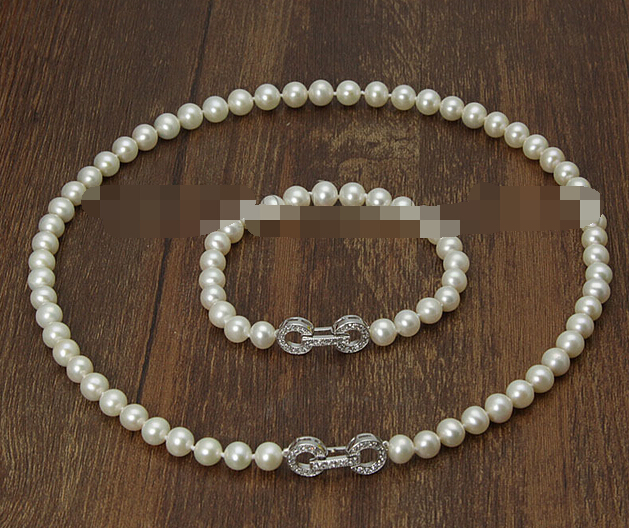 Free shipping charm Jew.656 Sets AAA 7-8mm white Freshwater cultured Pearl Necklace BraceletFree shipping charm Jew.656 Sets AAA 7-8mm white Freshwater cultured Pearl Necklace Bracelet