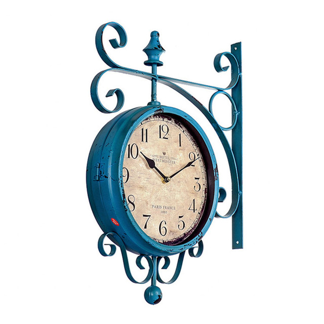 Watch Double Sided Wall Clock Wrought Iron Wall Clock Reloj de Pared Digital Clocks Relogio de Parede Horloge Murale Saat Klok