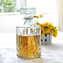 1 STÜCK Heißer Verkauf Luxus Bleifrei Quadrat Glas Wein Flasche Whisky Dekanter Alkohol Container Ausgießer Karaffe 800 ML JR 1084
