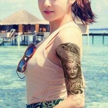 1PCS 3D Stickers Christmas Flower Arms Tattoo Stickers Waterproof Men & Women Simulation Buddha Guanyin Lotus Black & White