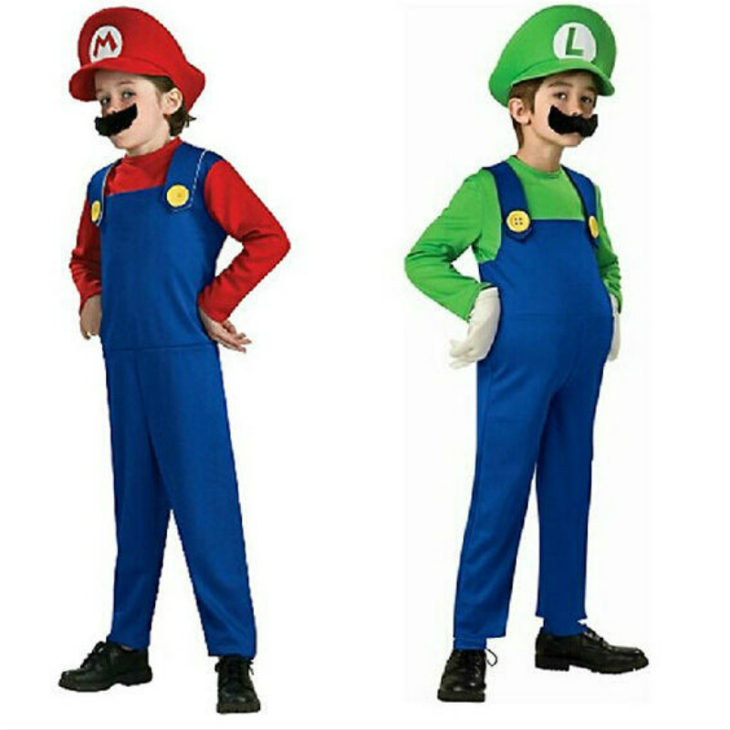 2018 Cute Kids Costume Super Mario Luigi Brothers cosplay party Costumes for children boys girls Dress Up Halloween Costume Set