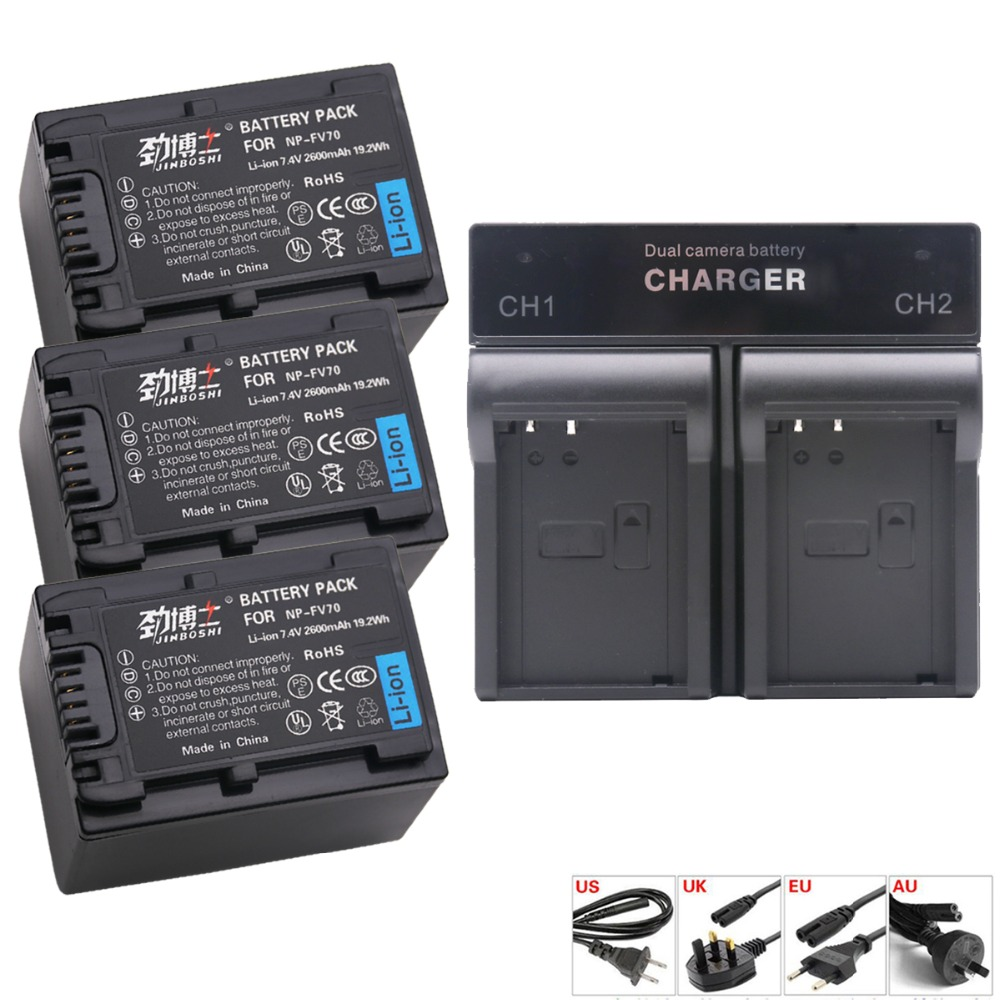 3PACKS 7.4V NP-FV70 NP FV70 npfv70 Battery +Charger for <font><b>Sony</b></font> HDR-CX105, <font><b>CX110</b></font>, CX115, CX155, CX200 AXP33 AXP35 AX30 DEV-3 DEV-5 image