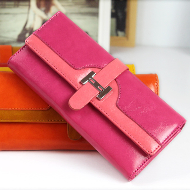 Free shipping 2013 color block three fold wallet long design wallet card holder female bags