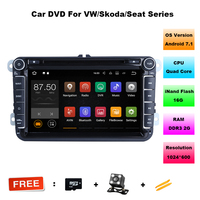 2G RAM Android 7 1 Quad Core 1024 600 Car DVD Player Stereo Navi For VW