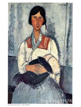 Canvas art on sale Gypsy Woman with Baby Amedeo Modigliani Handmade oil painting High quality