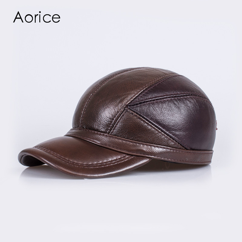 HL030 winter genuine sheepskin leather hat  brand new  men's  warm earmuffs hat man baseball cap/hat princess hat skullies new winter warm hat wool leather hat rabbit hair hat fashion cap fpc018