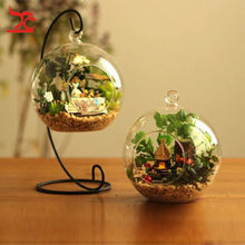 Hanging Clear Glass Ball Air Plant Terrarium With Metal Stand 10cm Globe Rack Holder Round Aquarium Fish Fish Flower Plant Vase(China)