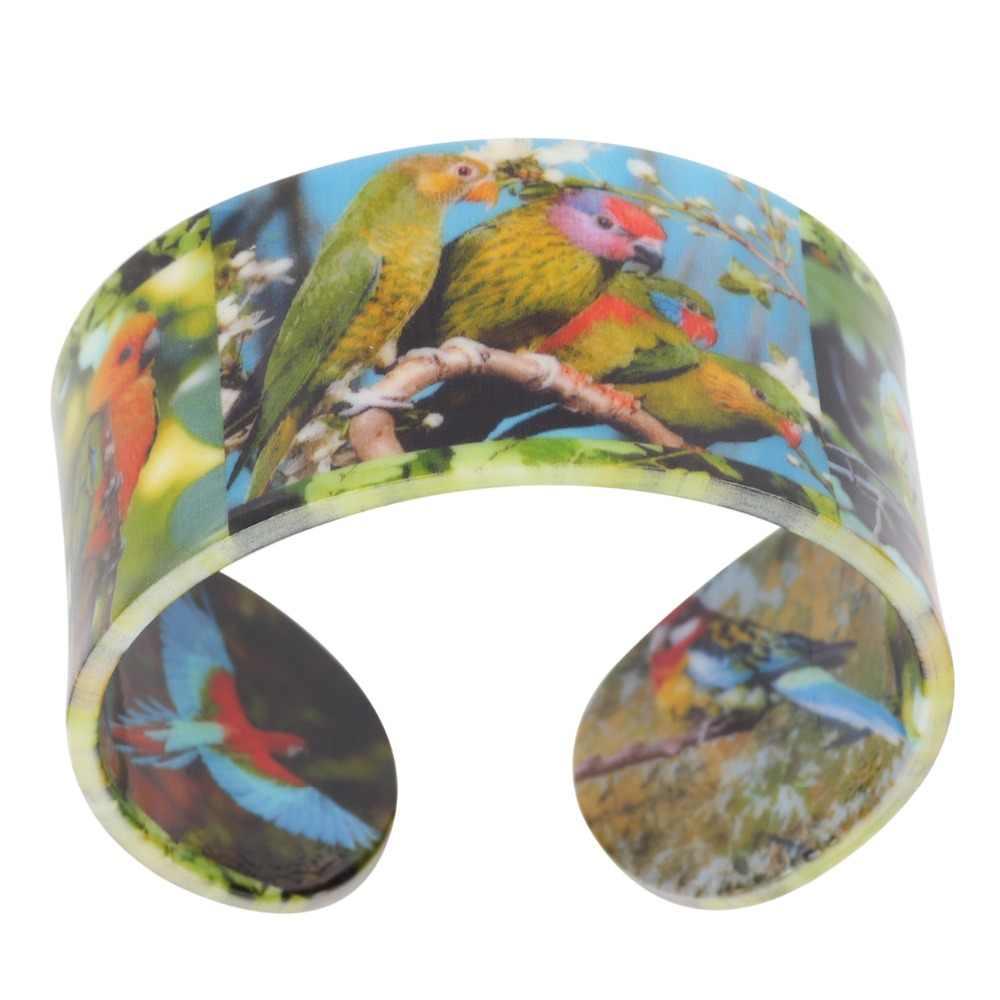Bonsny acrílico selva Animal loro patrón ancho pájaro pulseras brazaletes 2017 Nueva joyería de moda para mujer encanto femenino Bijoux