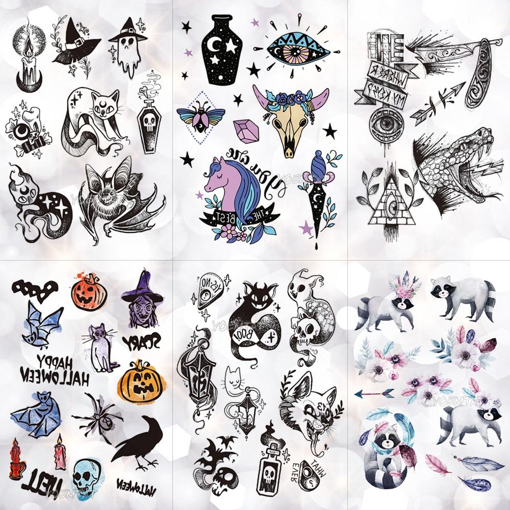Ghost Witch Candle Waterproof Temporary Tattoo Sticker Skull Halloween Crow Old School Flash Tattoos Body Art Arm Fake Tatoo