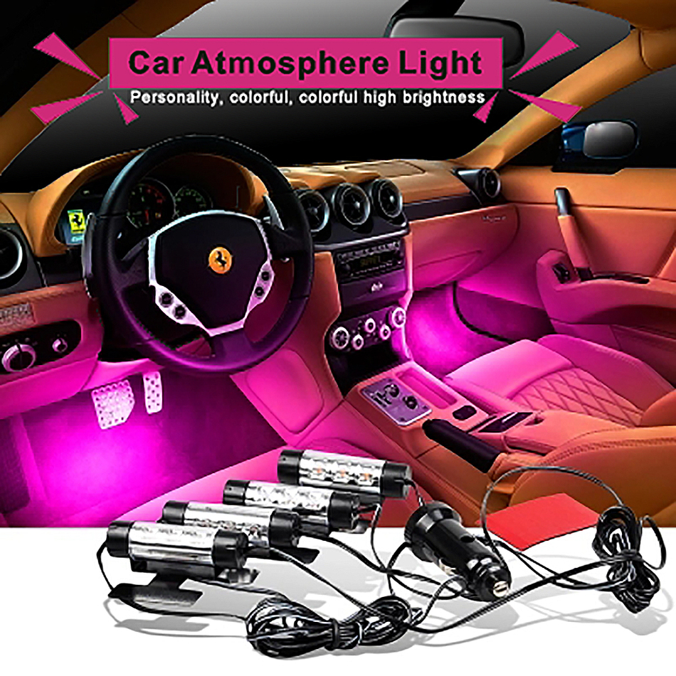 attractive 4x 3led car charge 12v 4w glow interior decorative 4in1 atmosphere blue light lamp. Black Bedroom Furniture Sets. Home Design Ideas
