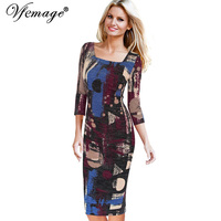 Vfemage Womens Elegant Vintage Printed Square Neck Casual Party Special Occasion Pencil Sheath Dress 4463