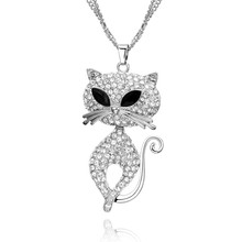 Big Cute Mustache Cat  Necklaces & Pendants Black Crystal Eyes Silver Plated Rhinestone Animal Long Sweater for Women