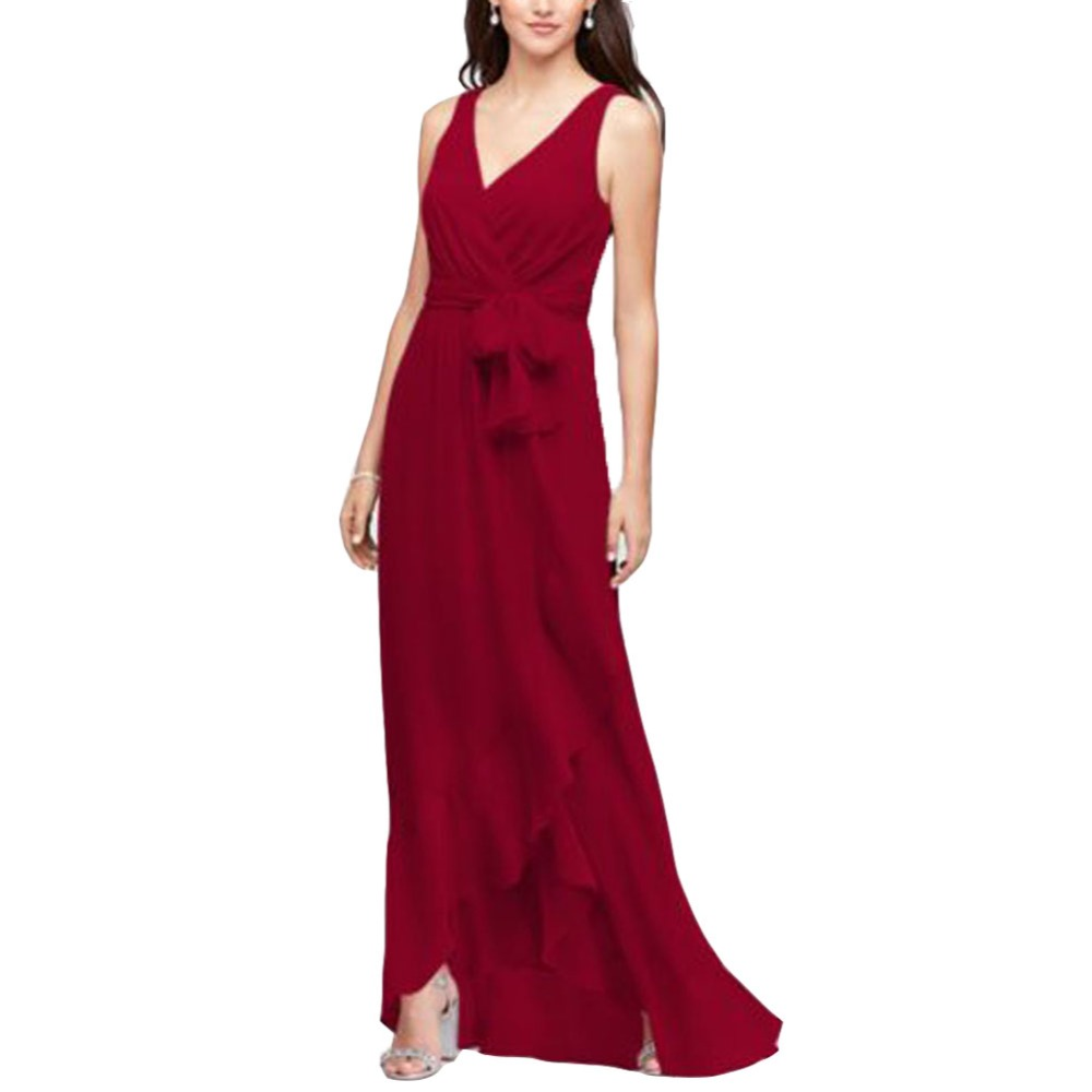 TPSAADE Women's Pleated V-Neck Bridesmaid Dresses Long Sleeveless Chiffon Evening Prom Party Dress with Sashes