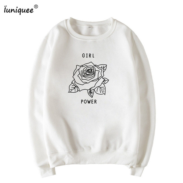 b78c664c5ed6 Girl Power Hoodies Women Fashion Black Rose Letter Printed Cute Graphic  Sweatshirts Crewneck Long Sleeve Casual Pullover