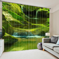 Grünen wald vorhänge Landschaft Schönheit Digital Foto Druck Blackout 3D Vorhänge für Wohnzimmer Bettwäsche Zimmer Hotel