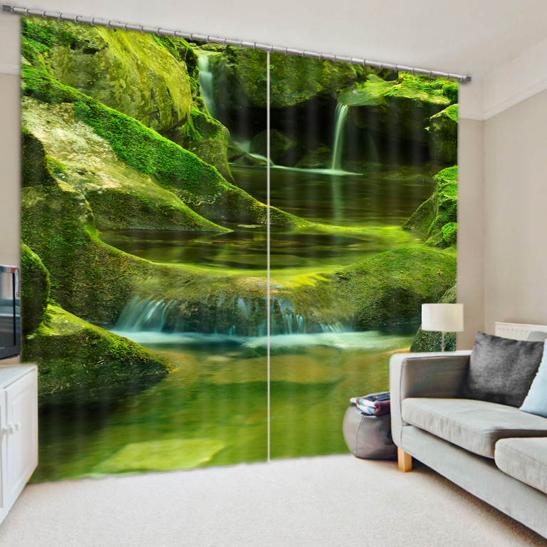 Green Forest Curtains Scenery Beauty Digital Photo Printing Blackout 3D Curtains For Living Room Bedding Room Hotel