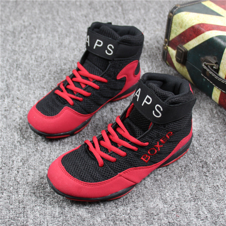 Men women boxer boxing boots wrestling shoes training shoes sports Wushu sanda gym fitness gear red black adult size 36-46