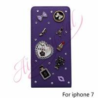 Aidocrystal Purple 7G Case 3D Handmade Bling Crystal Diamonds Bear Lipstick Fashion Heel Pattern PU Leather