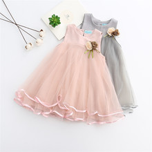 Summer Girls Dress Cute Mesh Floral Appliques Princess Dress Baby Girls Sleeveless A-Line Party Dress Children Clothing Vestidos цена 2017