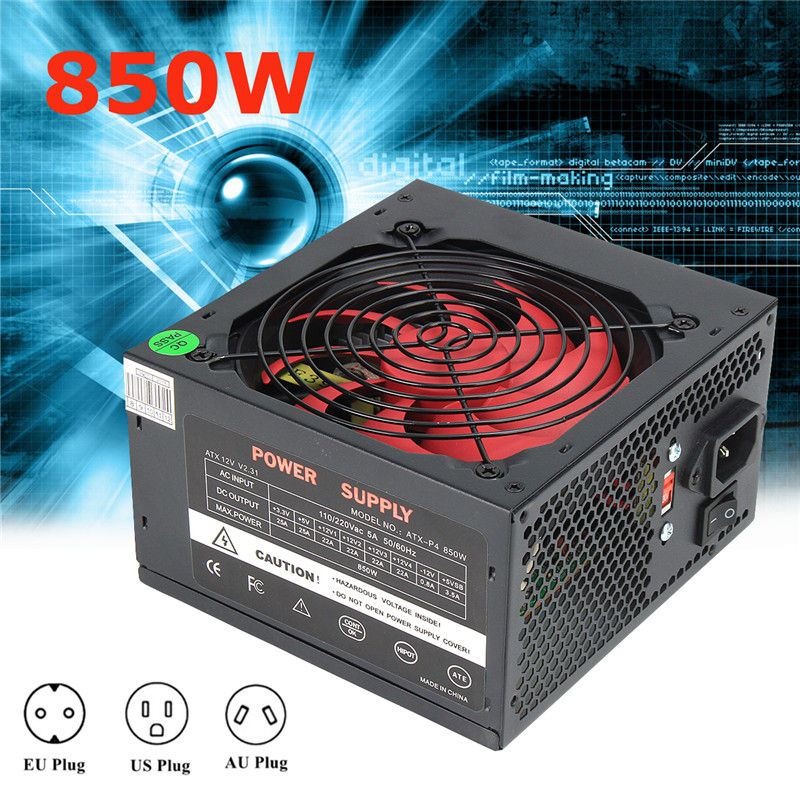 ATX-PC US/AU/EU Plug 80% Efficiency 850W PC BTC Power Supply 850 Watt 24 Pin PCI SATA ATX 12V Molex Miner Computer Power Supply atx 80plus efficiency 500w power gold power 12v sata port connectors 12cm fan high quality computer power supply for btc