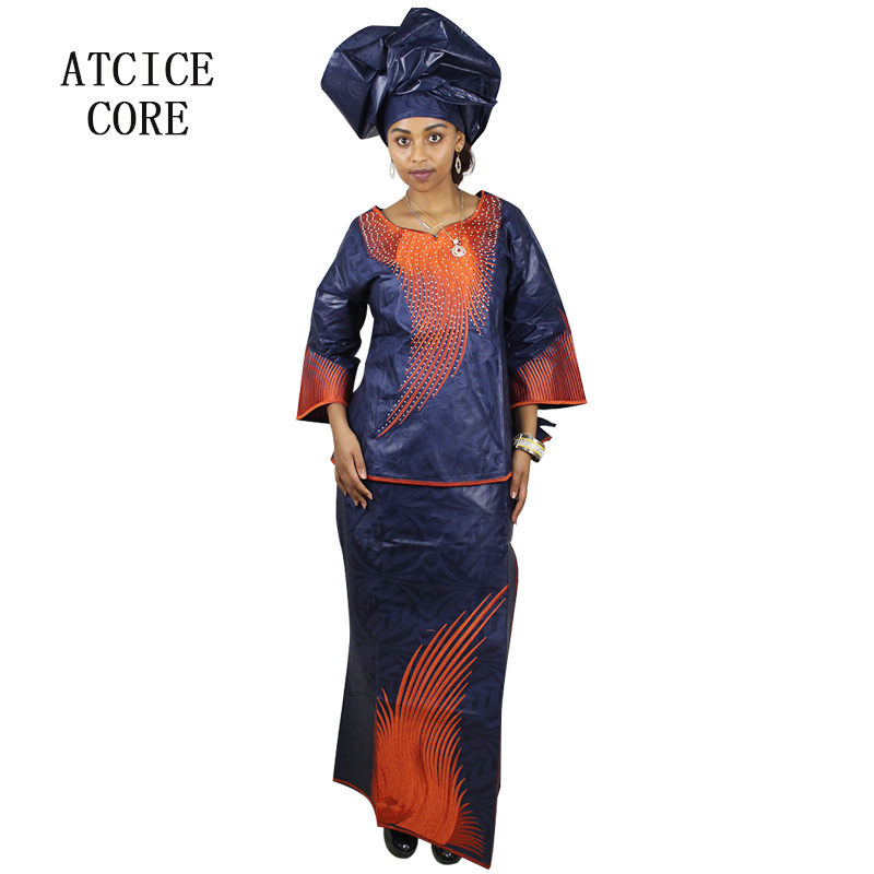 African Dresses For Woman Bazin Riche Embroidery Design Short Rapper With Scarf Three Pcs One Set Delaying Senility