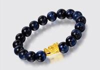 Pure Solid 24K Yellow Gold Dragon Stone Beads Elastic Line Bracelet
