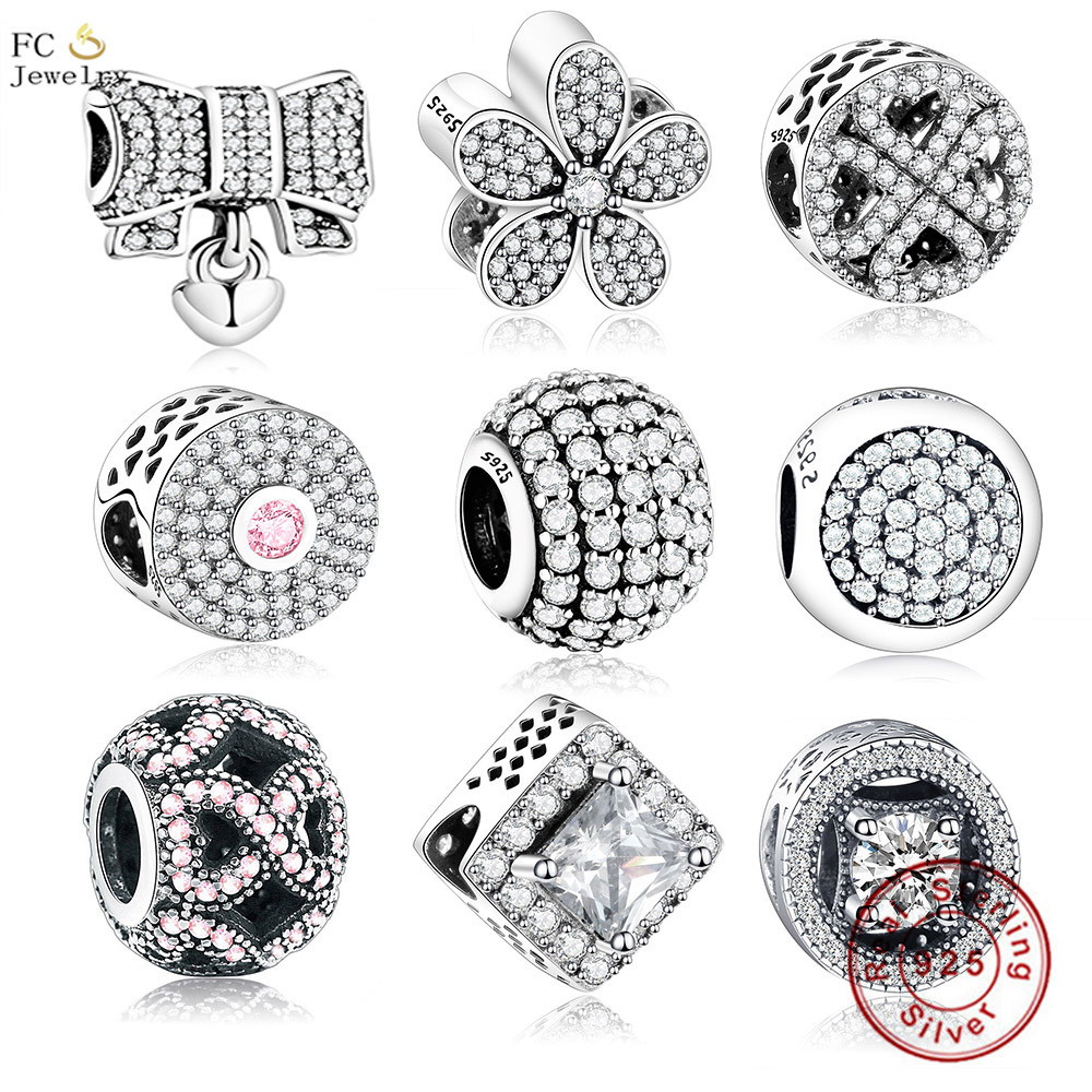 FC Jewelry Fit Original Pandora Charms Bracelets 925 Sterling Silver Number Bow Heart Color Mixed Zirconia Beads Berloque DIY