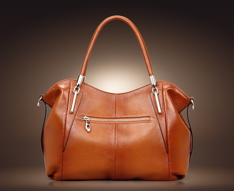 Vintage Women's Handbags Soft Genuine Leather Tote Crossbody Bag High Quality Cow Leather Shoulder Bags Female Brown Hand Bag 9