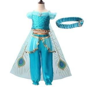 Image 1 - Mädchen Jasmin Kleid Up Kinder Halloween Weihnachten Prinzessin Jasmin Kostüme Für Kinder Party Bauchtanz Kleid Indische Disfraces