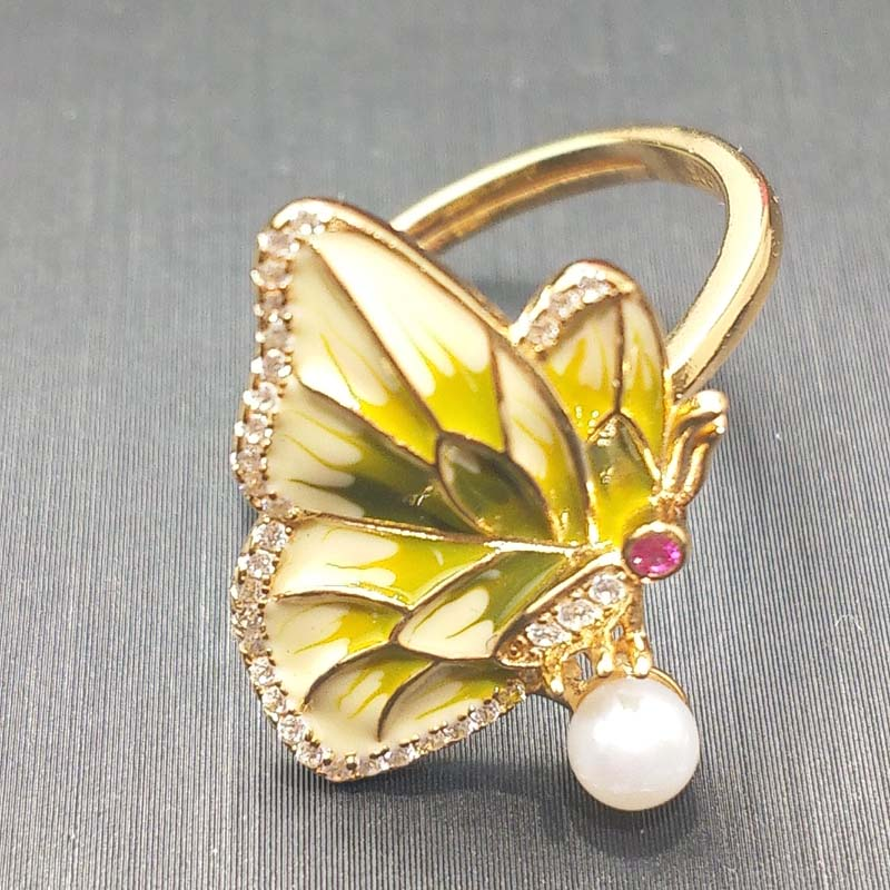 FLZB Beautiful butterfly ring natural 925 sterling silver with enamel nice fashion ring for girl and