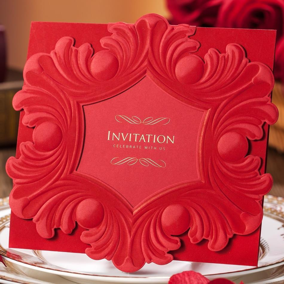 Luxury Red Embossed Flower Wedding Invitation Sample Card with Inner ...