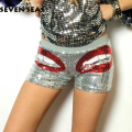 2016 New Fashion Silver/Gold/Black/Blue Sequin Shorts Sexy Disco Club Shorts Women Mini Clubwear Hiphop Dance Short Femme